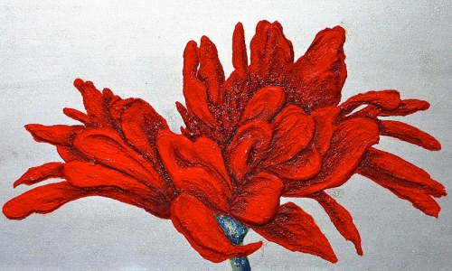"""Red carnations"" Art panel on canvas"