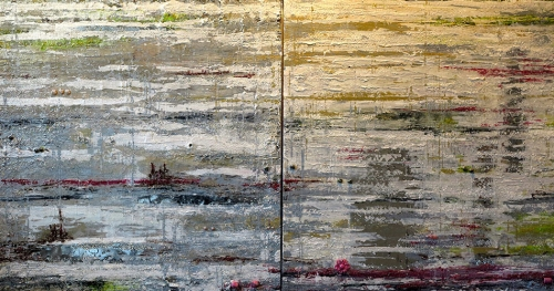 """Textured abstraction"" twin Art Panels -Private Home"